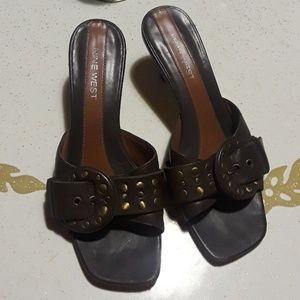 Brown and Brass Detailed Heels